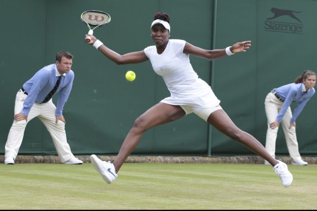 American Venus Williams returns the ball in her match against German Maria Sakkari on Day four of the 2016 Wimbledon Championships in Wimbledon, London June 30, 2016. Photo by Hugo Philpott/UPI