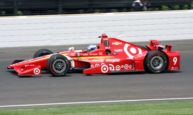 Scott Dixon exits the third turn during practice for the 100th running of the Indianapolis 500 at the Indianapolis Motor Speedway on May 16. Dixon and the Chip Ganassi IndyCar racing team will soon be without Target as a sponsor. File photo by Bill Coons/UPI