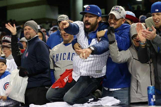 Chicago Cubs fans celebrate a 5-1 victory over the Cleveland Indians after game 2 of the World Series at Progressive Field in Cleveland, Ohio on October 26, 2016. Chicago evened the series at 1-1. Photo by Aaron Josefczyk/UPI