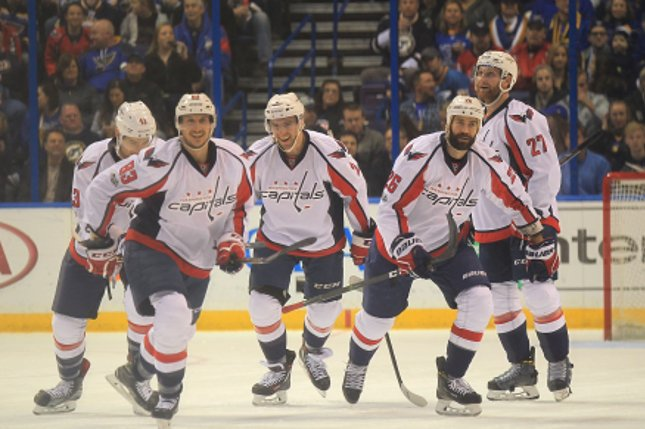 Washington Capitals Jay Beagle (83) and his teammates enjoy their skate to the bench after Beagle scored a goal in the first period against the St. Louis Blues at the Scottrade Center in St. Louis on Janauary 19, 2017. Beagle has matched career highs with 10 goals and 20 points. Photo by Bill Greenblatt/UPI