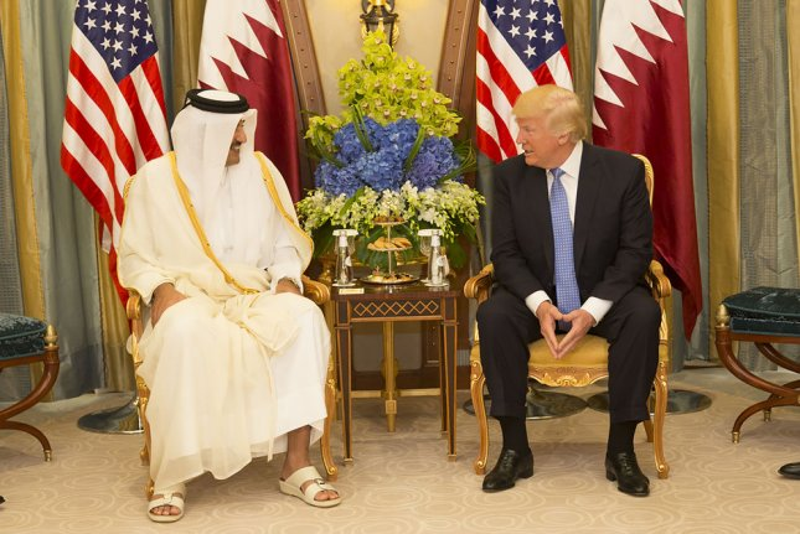 President Donald Trump meets with the Emir of Qatar on May 21 at the Ritz-Carlton Hotel in Riyadh, Saudi Arabia. White House Photo by Shealah Craighead/UPI
