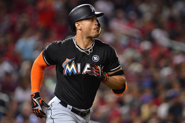 Giancarlo Stanton and the Miami Marlins have dropped five straight after falling to the Philadelphia Phillies on Friday. Photo by Kevin Dietsch/UPI