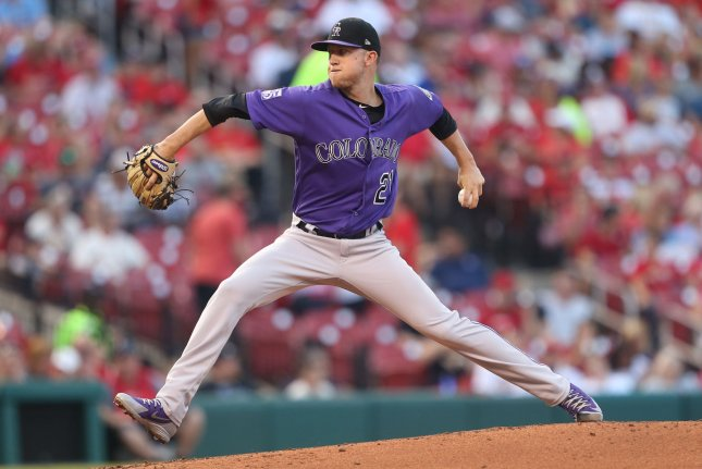 Kyle Freeland and the Colorado Rockies take on the Arizona Diamondbacks on Sunday. Photo by Bill Greenblatt/UPI