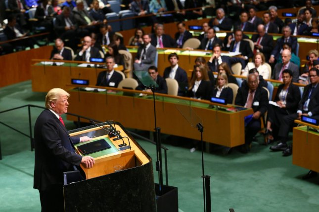 U.S. President Donald Trump speaks Tuesday at the 73rd General Debate at the United Nations General Assembly at U.N. headquarters at in New York City. Photo by Monika Graff/UPI