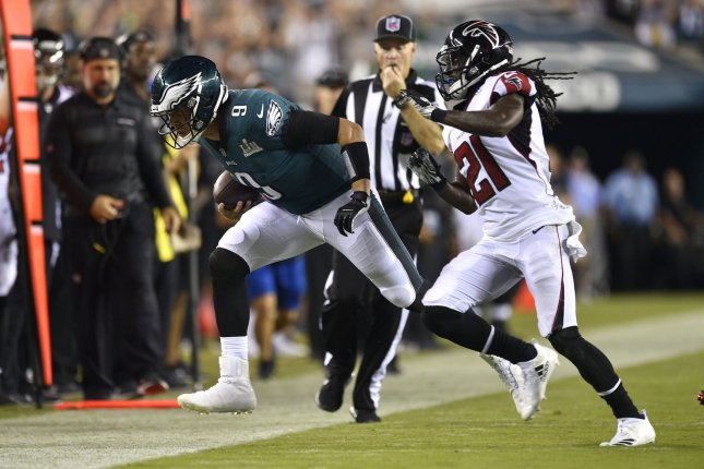 Former Atlanta Falcons cornerback Desmond Trufant (21) was limited to nine games last season because of a broken forearm. File Photo by Derik Hamilton/UPI