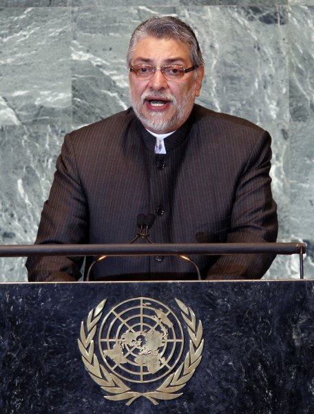 Former Paraguay President Fernando Lugo addresses the 66th United Nations General Assembly in the UN building in New York City on September 21, 2011. Lugi, 61, was removed from office Friday by the nation's Senate with a year left in his five-year term. UPI/John Angelillo