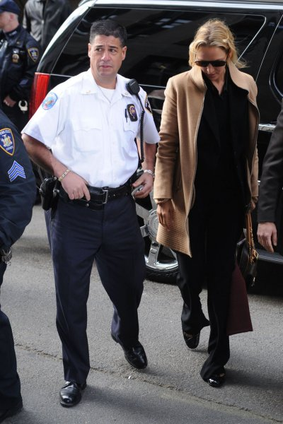 Actress Uma Thurman arrives at Manhattan Supreme Court in New York to give testimony in her case against alleged stalker Jack Jordan on May 1, 2008. (UPI Photo/Ezio Petersen)