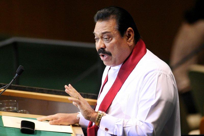 Sri Lanka's President Mahinda Rajapaksa conceded defeat Friday. File photo by Monika Graff/UPI.