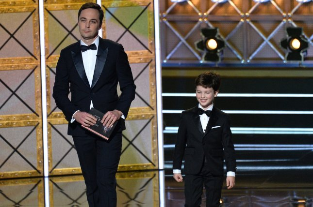 Actors Jim Parsons (L) and Iain Armitage onstage during the 69th annual Primetime Emmy Awards in Los Angeles on September 17, 2017. Armitage is to return for the second season of Big Little Lies. File Photo by Jim Ruymen/UPI