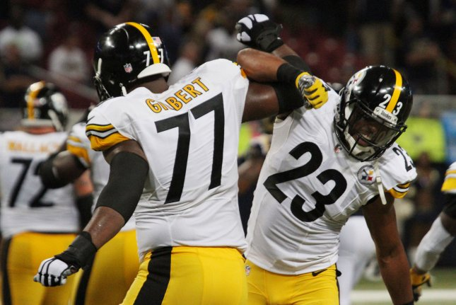 Former Pittsburgh Steelers offensive lineman Marcus Gilbert (77) was traded to the Arizona Cardinals last off-season but missed the entire 2019 campaign because of a torn ACL. File Photo by Rob Cornforth/UPI