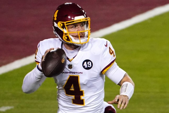 Washington Football Team quarterback Taylor Heinicke completed nearly 74% of his throws for 336 yards and two scores in a win over the New York Giants on Thursday at FedEx Field in Landover, Md. File Photo by Kevin Dietsch/UPI