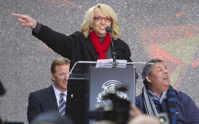 Arizona Gov. at a Super Bowl event in New York, Feb. 1, 2014. UPI/Gary C. Caskey