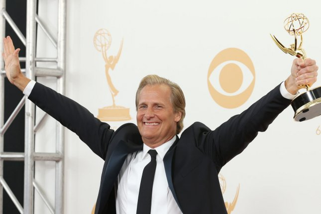 Actor Jeff Daniels holds the award he won for Lead Actor in a Drama Series - The Newsroom at the 65th Primetime Emmy Awards at Nokia Theatre in Los Angeles on September 22, 2013. UPI/Danny Moloshok
