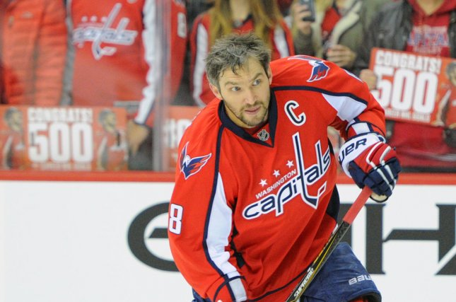 ec572e061 Washington Capitals left wing Alex Ovechkin (8) warms up prior to the game  against the Vancouver Canucks at the Verizon Center in Washington, ...