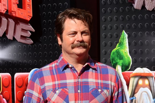 Cast member Nick Offerman, the voice of Metal Beard in the animated comedy motion picture The Lego Movie, attends the premiere of the film in Los Angeles on February 1, 2014. Offerman is to host The Handmade Project competition series for NBC. File Photo by Jim Ruymen/UPI