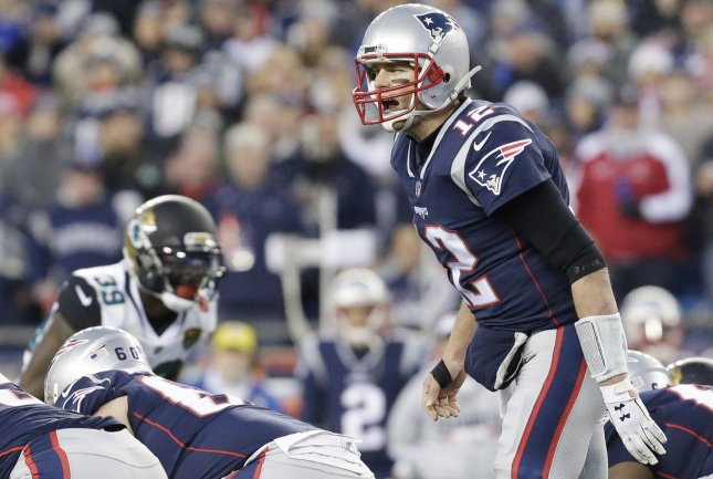 New England Patriots quarterback Tom Brady calls out a play at the line of scrimmage in their 24-20 win over the Jacksonville Jaguars in the AFC Championship game at Gillette Stadium in Foxborough, Mass., on Jan. 21. Photo by John Angelillo/UPI
