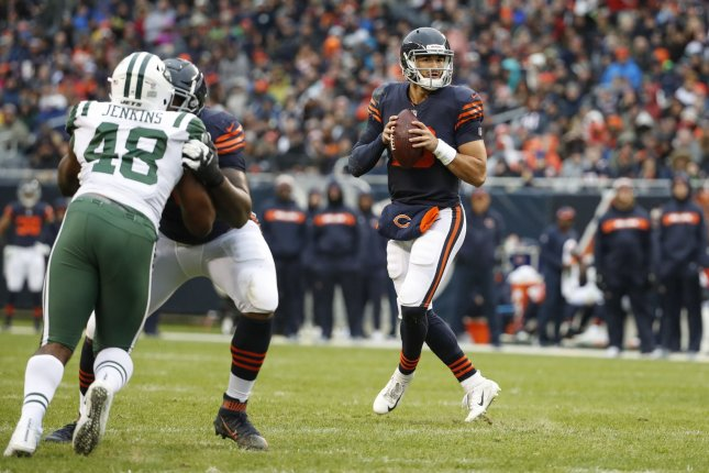 Chicago Bears quarterback Mitchell Trubisky (10) looks to pass the ball against the New York Jets during the second half on October 28, 2018 at Soldier Field in Chicago. Photo by Kamil Krzaczynski/UPI