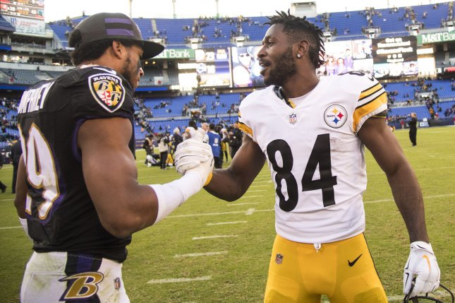 Pittsburgh Steelers wide receiver Antonio Brown (84) is expected to join a new team soon as trade talks are beginning to heat up. File Photo by Kevin Dietsch/UPI