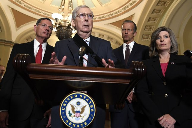 Senate Republican leader Mitch McConnell of Kentucky said he is awaiting a White House plan on reducing gun violence. Photo by Mike Theiler/UPI