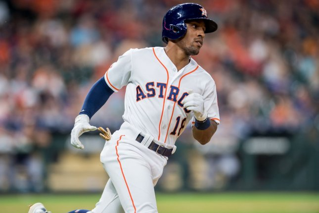 Former Houston Astros utility player Tony Kemp was traded to the Chicago Cubs in July 2019. The Oakland A's acquired him from the Cubs this off-season. File Photo by Trask Smith/UPI