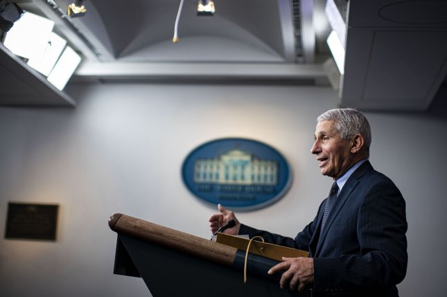 Anthony Fauci, director of the National Institute of Allergy and Infectious Diseases, speaks during a briefing at the White House on January 21. Photo by Al Drago/UPI