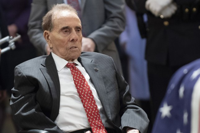 Former Sen. Bob Dole pays tribute to former President George H. W. Bush as the 41st president lies in state at the U.S. Capitol in Washington, D.C., on December 4, 2018. File Photo by Pat Benic/UPI
