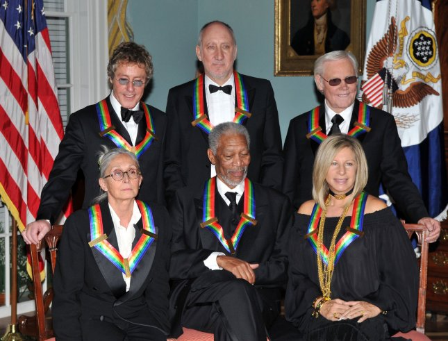 2008 Kennedy Center honorees pose for the formal group photo following the Artist's Dinner at the United States Department of State in Washington, D.C. on December 6, 2008. Front row from left to right: Twyla Tharp, Morgan Freeman, and Barbra Streisand. Back row from left to right: Roger Daltrey, Pete Townshend, and George Jones..(UPI Photo/ Ron Sachs/Pool)