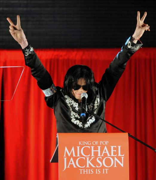American singer Michael Jackson announces his summer concert dates at a press conference at O2 Arena in London on March 5, 2009. UPI/Rune Hellestad