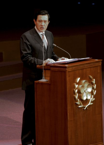 Polls showed Taiwanese President Ma Ying-jeou locked in a close race with Tsai Ing-wen, leader of the Democratic People's Party. Photographed, Taiwan's President Ma Ying-jeou gives an address during his inauguration ceremony in Taipei on May 20, 2008. (UPI Photo/SNP/Kouji Fukagawa)