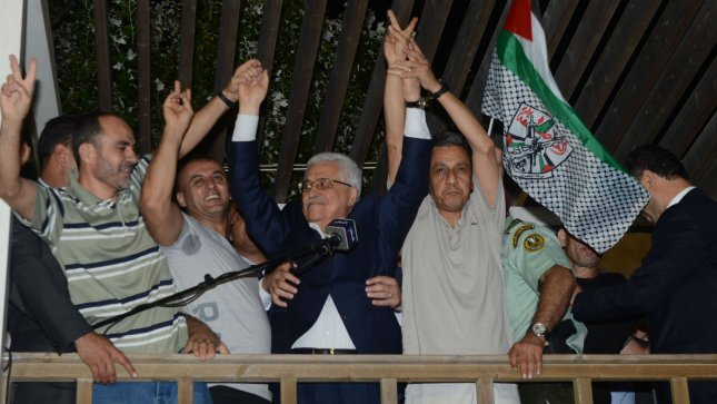 Palestinian Authority President Mahmoud Abbas welcomes prisoners released from Israeli prison in the West Bank town of Ramallah early August 14, 2013. Israel released 26 Palestinian security prisoners as gesture on the eve of resumption of peace talks. The detainees were arrested by Israel between 1985 and 2001. UPI/Thaer Ghanaim/PA