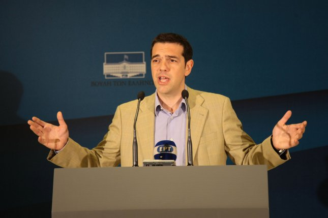 Now-former Greek Prime Minister Alexis Tsipras plans explains his intention to soften a new austerity deal struck with the country's creditors which is disliked by his constituents but he said was unavoidable. File Photo by UPI/Hugo Philpott