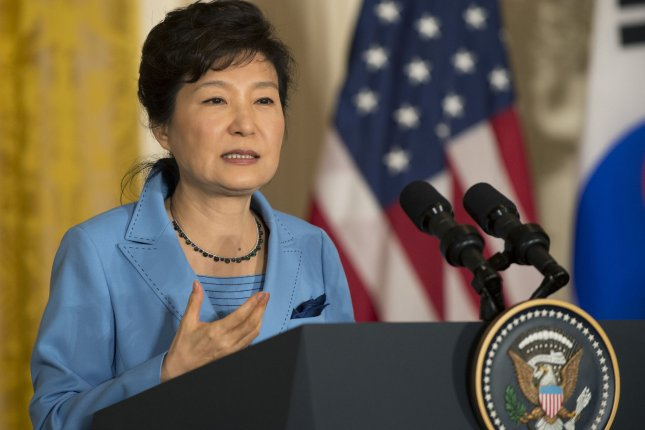 South Korean President Park Geun-hye, shown here on a recent visit to the White House, has been criticized for a proposal to nationalize Korean history textbooks. File Photo by Pat Benic/UPI