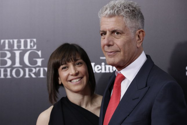 Anthony Bourdain (R) and Ottavia Busia at the New York premiere of The Big Short on November 23, 2015. File Photo by John Angelillo/UPI