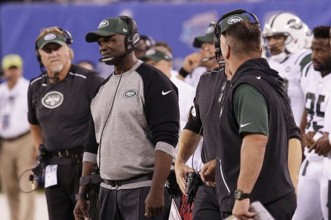 New York Jets head coach Todd Bowles stands on the sidelines in the first quarter of a preseason game against the New York Giants at MetLife Stadium in East Rutherford, New Jersey on August 26, 2017. Photo by John Angelillo/UPI