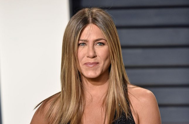 Jennifer Aniston attends the Vanity Fair Oscar Party at the Wallis Annenberg Center for the Performing Arts in Beverly Hills, Calif., on February 26. The actor turns 49 on February 11. File Photo by Christine Chew/UPI