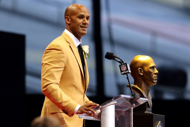 Jason Taylor speaks during his induction into the Pro Football Hall of Fame on August 5 at Tom Benson Hall of Fame Stadium in Canton, Ohio. File Photo by Aaron Josefczyk/UPI