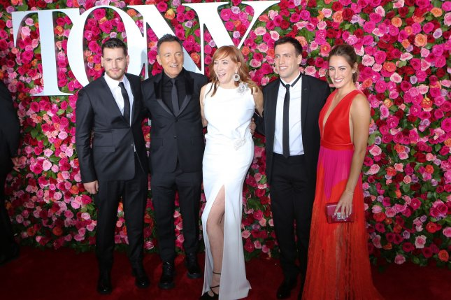 Left to right, Evan Springsteen, Bruce Springsteen, Patti Scialfa, Sam Springsteen and Jessica Springsteen arrive on the red carpet at the 72nd Annual Tony Awards on Sunday. Photo by Serena Xu-Ning/UPI