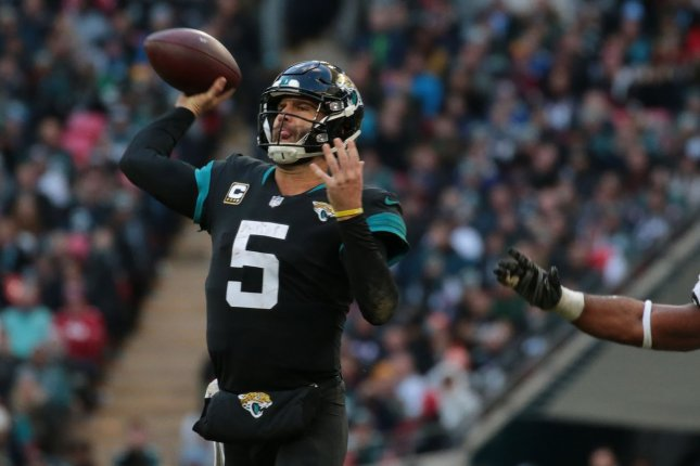 Former Jacksonville Jaguars Quarter Back Blake Bortles could find a new home as the backup to Jared Goff in Los Angeles as he is set to visit the Rams on Monday. File Photo by Hugo Philpott/UPI