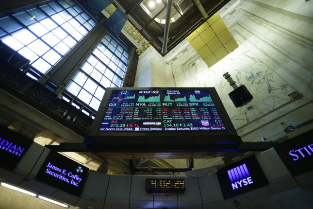 Monitors are seen Monday on the floor of the New York Stock Exchange on Wall Street in New York City. Photo by John Angelillo/UPI