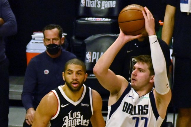 Dallas Mavericks guard Luka Doncic shoots in the fourth quarter of a Game 5 playoff win over the Los Angeles Clippers on Wednesday at Staples Center in Los Angeles. Photo by Jim Ruymen/UPI