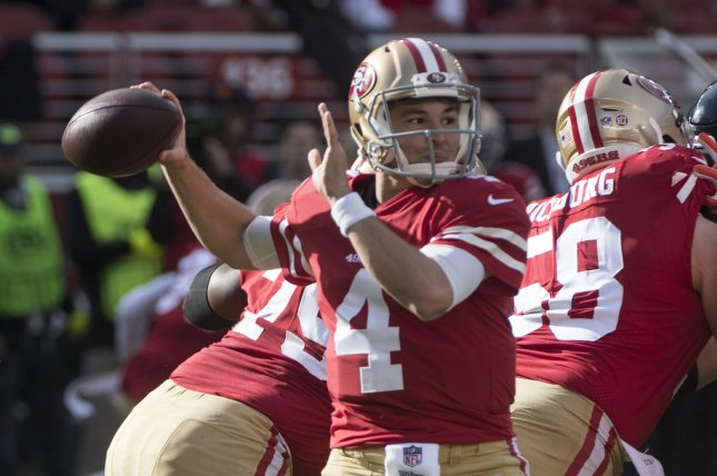 Former San Francisco 49ers quarterback Nick Mullens (4), shown Dec. 23, 2018, produced a 5-11 record as the 49ers' starting quarterback over three seasons. File Photo by Terry Schmitt/UPI