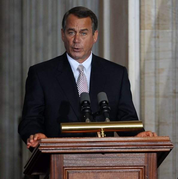 House Speaker John Boehner, R-OH, speaks during a ceremony marking the 50th anniversary of President John F. Kennedy's inauguration on Capitol Hill in Washington on January 20, 2011. UPI/Roger L. Wollenberg