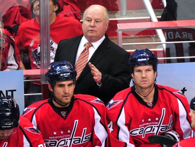 Bruce Boudreau, shown coaching the Washington Capitals in a playoff game last April, was fired Monday as coach of the Capitals. UPI/Kevin Dietsch