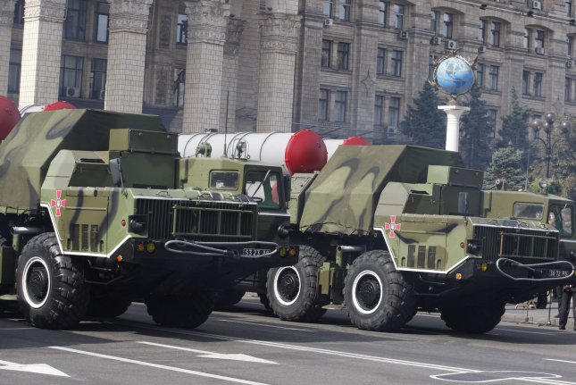 Iran has recieved the first deliveries of S-300 air defence mobile missile systems from Russia. Pictured, S-300 missile systems ride during the Independence Day military parade in Kiev on August 24, 2014. File photo by Ivan Vakolenko/UPI
