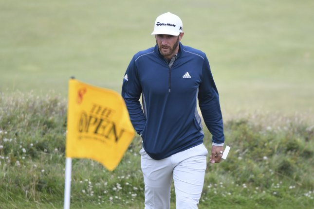 American golfer Dustin Johnson walks onto the 8th green at the 145th Open Golf Championship in Troon, Scotland July 16, 2016. Photo by Hugo Philpott/UPI