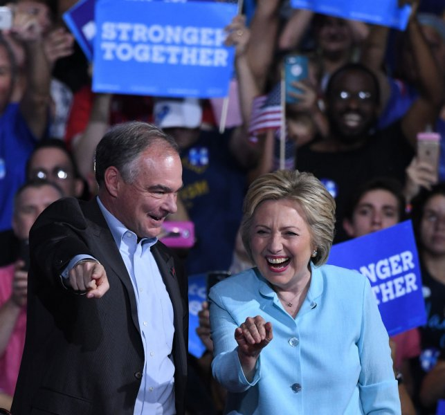 Democratic presidential candidate Hillary Clinton introduces her pick for vice president, Sen. Tim Kaine, during a rally Saturday at Florida International University in Miami. Photo by Gary I Rothstein/UPI