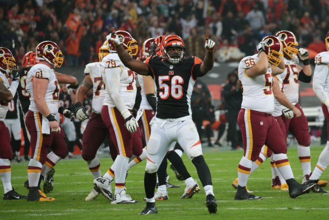 Cincinnati Bengals Linebacker Karlos Dansby celebratres a missed kick by the Washington Redskins in the third game of the International Series at Wembley Stadium, London on October 30, 2016. Photo by Hugo Philpott/UPI.
