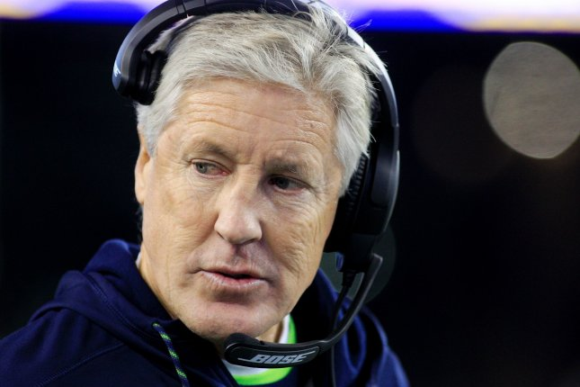 Seattle Seahawks head coach Pete Carroll walks the sideline in the second quarter against the New England Patriots on November 13, 2016 at Gillette Stadium in Foxborough, Massachusetts. File photo by Matthew Healey/UPI