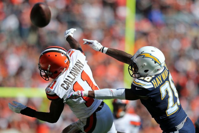 Cleveland Browns receiver Antonio Callaway drops a pass after it is broken up by Los Angeles Chargers defensive back Casey Howard Jr. during their game October 14, 2018. Photo by Aaron Josefczyk/UPI