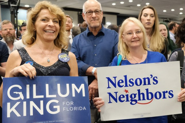 Supporters of Florida Democratic Sen. Bill Nelson cheer after early results are posted at a watch party in Orlando on Tuesday. As the night went on, Nelson lost his lead to Rick Scott and Republican Ron DeSantis overcame Andrew Gillum. Both races are headed to a machine recount. Photo by Gary I Rothstein/UPI